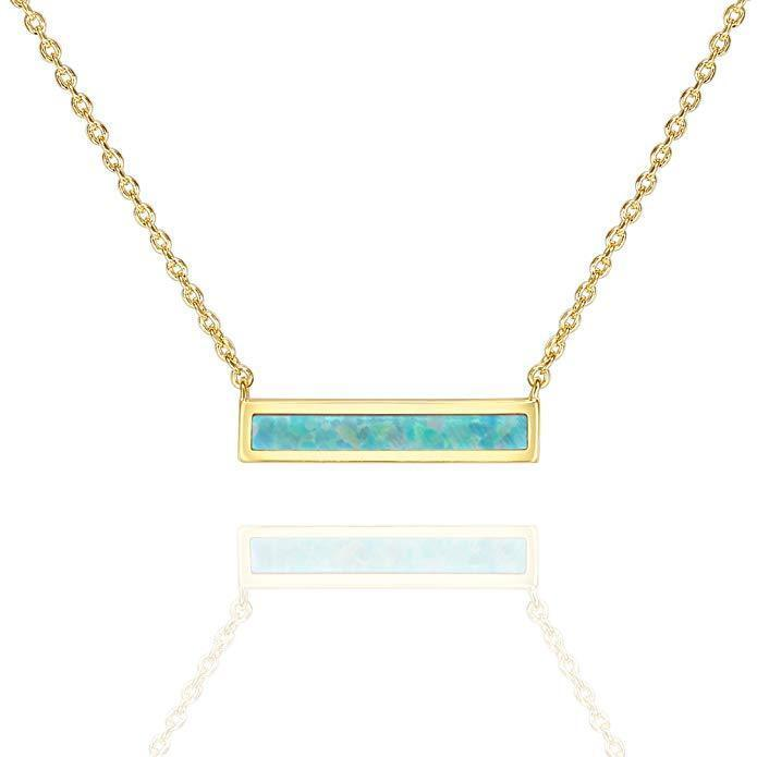 Rose Gold Plated Pink Opal Bar .925 Sterling Silver Necklace