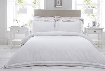 100% coton 200TC Blanc Taupe Beige Bord Housse de couette King-size