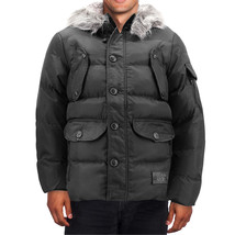 Men's Heavy Weight Warm Winter Coat Puffer Faux Fur Trim Sherpa Lined Jacket image 2