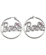 New Iced Out Crystal Rhinestones Hoop Earrings Barbie Style - $14.95+