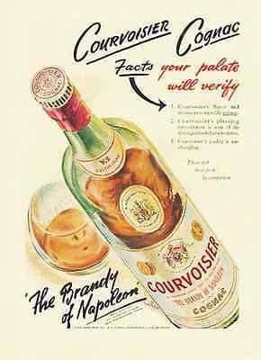 Primary image for Courvoisier Cognac Brandy Graphic Artwork Bottle Label Design 1946 Ad