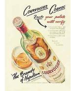 Courvoisier Cognac Brandy Graphic Artwork Bottle Label Design 1946 Ad - $18.99