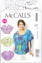 Pattern McCalls 6962 Misses Size XS S M 4/6 8/10 12/14 Tops Easy, 2014 - $3.99