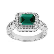 Wedding Ring 14k White Gold Plated 925 Silver Rectangular Shape Green Sapphire - $79.99