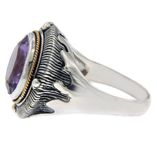 Solid Sterling Silver and 14 K Amethyst Ring » R24 - £80.01 GBP