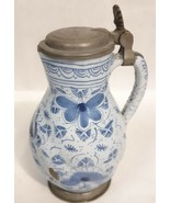 Antique 1800's Syrup Pitcher Earthenware Hand Painted Blue White Metal L... - $158.39