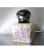 Victorian Gilded Hand Painted Porcelain Sterling Cap Inkwell 1800's   - $45.00