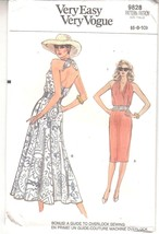 Vogue 9828 Misses Dress Straight Flared Skirt Halter Top Sewing Pattern ... - $12.86