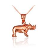 10K Polished Rose Gold Rhino Charm Necklace - $109.99+