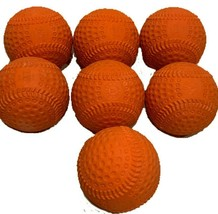 Lot of 7 Orange Kenko Air Safety Dimpled Pitching Machine Baseball Pitch... - $28.66