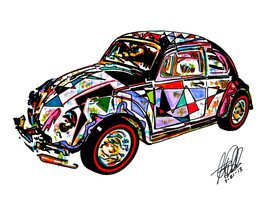 "Hot Wheels, 1966 Volkswagen Beetle, VW Bug, Redline, Germany, 18""x24"" Ar... - $19.99"