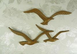 Vintage 1981 Homco Syroco Sea Gulls Plastic Faux Wood Wall Art 7619 Seagulls  - $24.74
