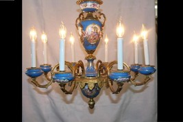 Elaborate 20th Century French Sevres 8-Arm Porcelain Chandelier w/ Bronz... - $3,450.00