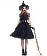 Adult Women Gothic Ghost Games Halloween Witch Cosplay Costume - $37.61