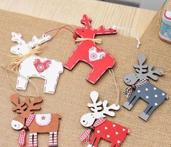 Wooden Retro Christmas Snow Reindeer Christmas Hanging Christmas Decorat... - $23.75