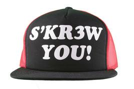 Kr3w Krew Black Red S'Kr3w You! FU Leather Strapback Trucker Baseball Hat NWT