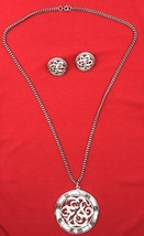 Lisner 3-piece set Silverstone Round Medallion Necklace w/ Clip Earrings... - $17.09