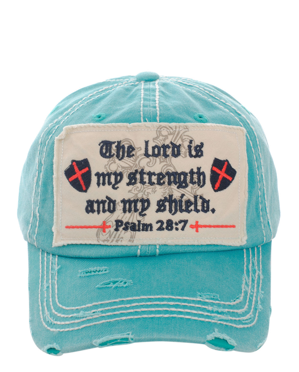 Distressed Vintage Style Bible Verse Psalm 28:7 Baseball Cap Hat Turquoise Blue