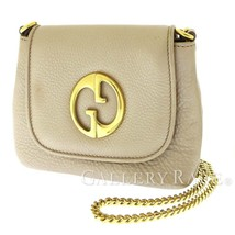 GUCCI GG Chain Shoulder Bag Leather Pink Beige 251821 Double G Italy Aut... - $425.43