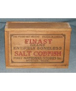 Vintage FINAST BRAND SALT CODFISH Wooden Box-FIRST NATIONAL STORES BOSTO... - $19.95
