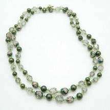 VENDOME Green Art Glass AB Faceted Crystal Bead Bead Long Necklace Vintage - $74.25