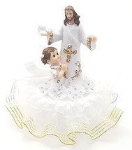 "1st communion cake top with Jesus and a girl gold trim design 7"" tall  6... - $29.65"
