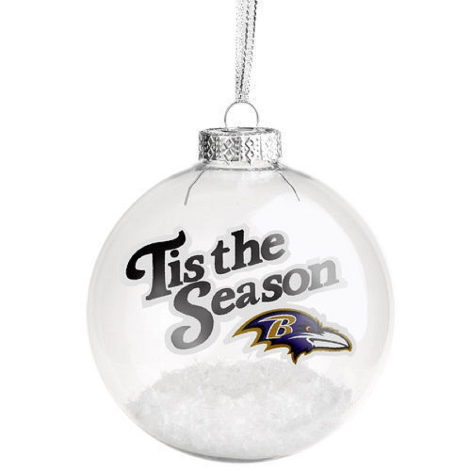 Baltimore Ravens NFL Team Logo Tis The Season Glass Ball Ornament Snow