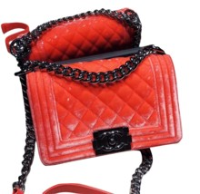 100% AUTHENTIC CHANEL CORAL VELVET QUILTED LAMBSKIN SMALL BOY FLAP BAG SHW - $3,974.25 CAD