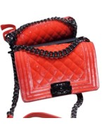 100% AUTHENTIC CHANEL CORAL VELVET QUILTED LAMBSKIN SMALL BOY FLAP BAG SHW - $2,999.99