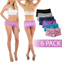 B2BODY Women's Premium Satin Full Coverage Boy Shorts Panties - 6 Pack - 3XL