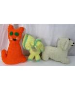 Vtg 1980's Crocheted Yarn Cat Dog Elephant Doll Toy - $9.89