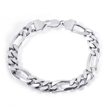 Classic Figaro Link Chain Bracelet Silver    - $188.09