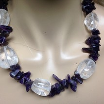 Stunning, Chunky Crystals with Amethyst Beads, 18in Choker-Necklace - $56.95