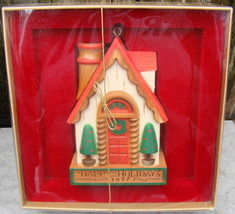1977 HAPPY HOLIDAYS House Chalet Cottage Hallmark Christmas Ornament Yes... - $12.99