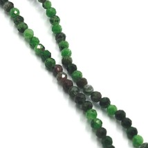 """18K YELLOW GOLD NECKLACE 24"""", FACETED GREEN ZOISITE AND RED RUBY DIAMETER 3.5mm image 2"""