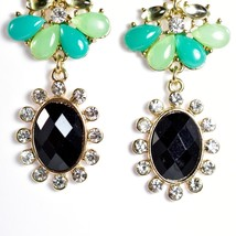 "Mode Mint Green & Black Lucite Bead 2.5"" Drop Post Dangle Earrings New with Tag image 2"