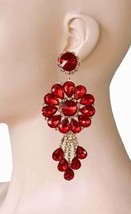 "4.5"" Long Clip On Earrings Red Acrylic Rhineston, Drag Queen, Pageant - $21.33"