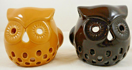 "Set of 2 Owl Tea light Holder 3"" Glazed Pottery Brown Tabletop Decor Cer... - $19.79"
