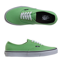 VANS AUTHENTIC GREEN FLASH BLACK SHOES KIDS US 12.5 UK 12 EUR 30 CM 17.5... - $28.01