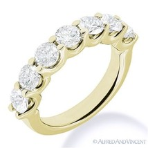 Round Cut Forever Brilliant Moissanite 14k Yellow Gold 7-Stone Band Wedding Ring - $407.20+