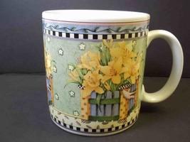 Debbie Mumm coffee mug Spring Bouquet series Daffodils Sakura 1999 10 oz - $8.57