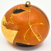 Handcrafted Carved Gourd Art Orange Fox Forest Animal Ornament Made in Peru image 2