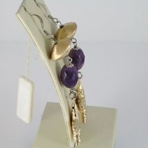 925 STERLING YELLOW SILVER PENDANT EARRINGS OVAL AMETHYST WORKED BIG STAR, SATIN image 3
