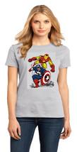 Avengers Iron Man & Captain America Ladies Perfect Crew T-Shirt Size XS To 4XL - $19.99+