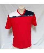 VTG 90s Tommy Hilfiger T Shirt Colorblock V Neck Spell Out Tee Racing Je... - $34.99