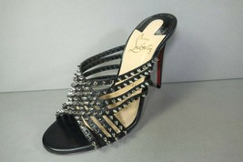 LOUBOUTIN 37 MARTHASPIKE 100 Black Leather Silver Spikes Studs Sandals M... - $649.59