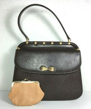 Saks Fifth Avenue True Vintage Small Brown Leather Handbag with Coin Purse - $46.55