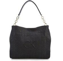 Calvin Klein Hera Quilted Leather Large Hobo Handbag, Black - $195.00