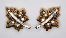 VTG 1950'S TRIFARI PAT PEND Alfred Philippe Maple Leaf Clear Rhinestone ... - $74.25