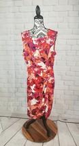 Dana Buchman women's sz xl stretch knit floral print dress faux wrap ruc... - $25.74